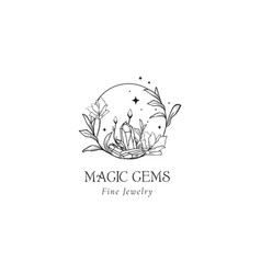 Floral mystic logo design handdrawn magic gems vector
