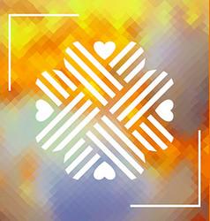 Four hearts design element over polygonal vector