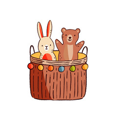 funny cute adorable animal kid toy game basket vector image