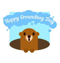 funny happy groundhog day icon flat style vector image