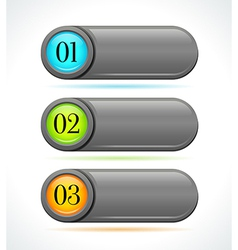 Glossy gray horizontal options banners or buttons vector