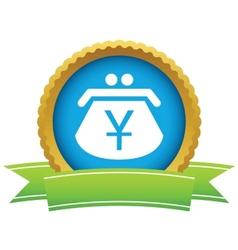 Gold yen purse logo vector image