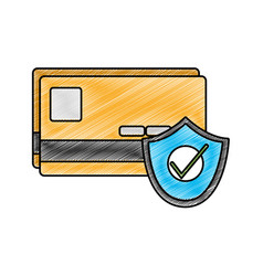 Grated finance credit card with secuity shield vector