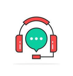 Green red outline hotline logo vector