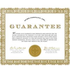 Guarantee certificate vector