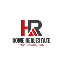 h r home real estate logo designs vector image
