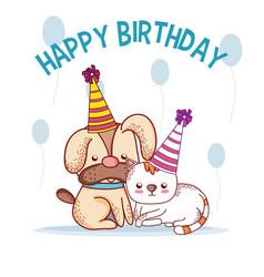 Happy birthday pets cartoons vector