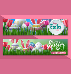 happy easter sale banner poster invitation vector image