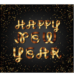 happy new year gold sign on black background vector image