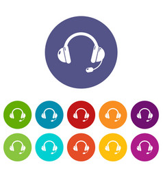 headset icons set color vector image