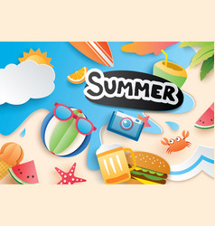 Hello summer with paper cut symbol icon for vector
