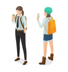 high school pupil in black trousers shirt and tie vector image