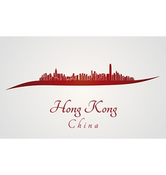 Hong Kong skyline in red vector