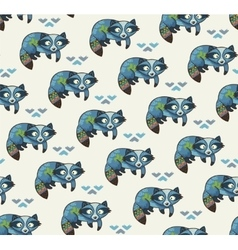 Indian seamless pattern of raccoons vector