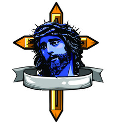 jesus christ son god in a crown thorns vector image
