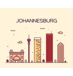 Johannesburg skyline linear vector image