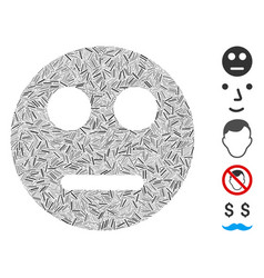 Line collage neutral smiley icon vector