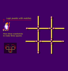Logical puzzle game with matches need to move vector