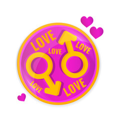 love concept circle lable with symbols of vector image