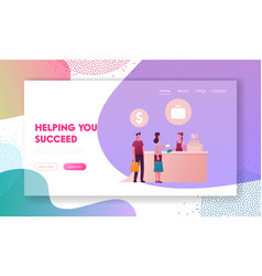male and female characters buying cheap goods in vector image