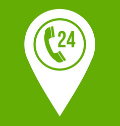 map pointer with phone handset icon green vector image