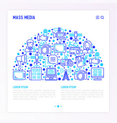 mass media concept in half circle vector image