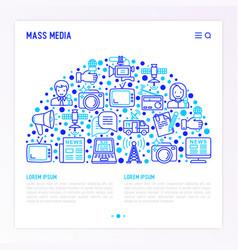 Mass media concept in half circle vector