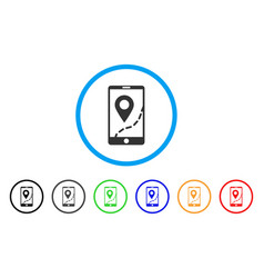 mobile map navigation rounded icon vector image