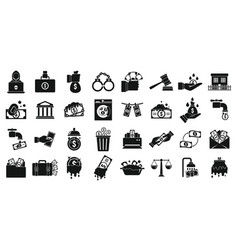 Money laundering icons set simple style vector