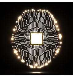 Neon brain Cpu Circuit board Abstract vector