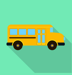 orange kid school bus icon flat style vector image