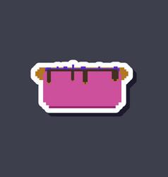 Paper sticker on stylish background hot dog vector