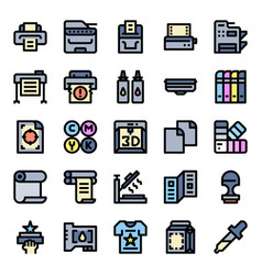 Printer and plotter outline color icons vector