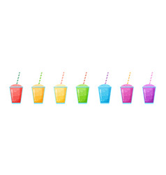 Rainbow natural fruit smoothie colection graphic vector