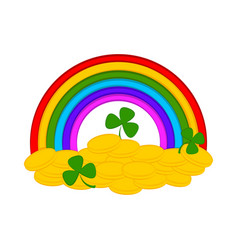 rainbow with golden coins and clovers vector image