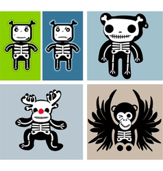retro skulls vector image vector image