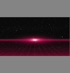 Retrowave style red laser perspective grid with vector