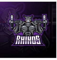Rhino sport mascot logo design vector