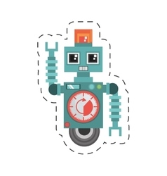 robot machine alarm clock wheel siren cutting line vector image