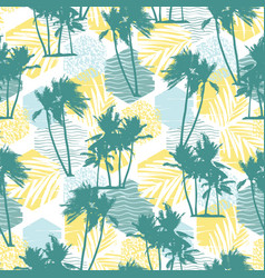 Seamless exotic pattern with tropical palms and vector