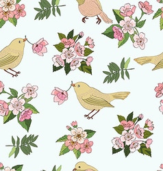 Seamless pattern birds and flowers vector