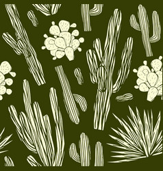 seamless pattern with the image of cactuses vector image