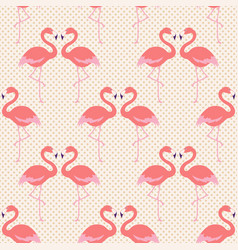 seamless pink flamingo bird couple pattern vector image