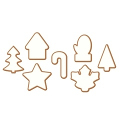 Set 4 of Christmas and New year gingerbread with vector