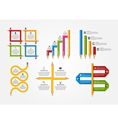 Set education pencil option Infographics design vector image