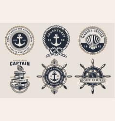 set marine badges on light background vector image