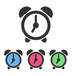 set of alarm clock icons with color clockfaces vector image