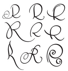 Set of art calligraphy letter r with flourish of vector