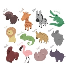 Set of cute cartoon animals Funny savannah vector