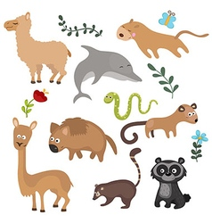 Set of different animals of south america vector